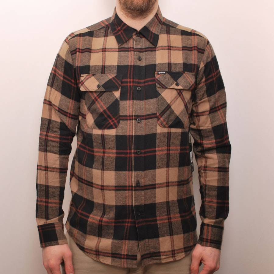 Brixton brixton bowery long sleeve flannel shirt hunter for Flannel checked long sleeve shirt
