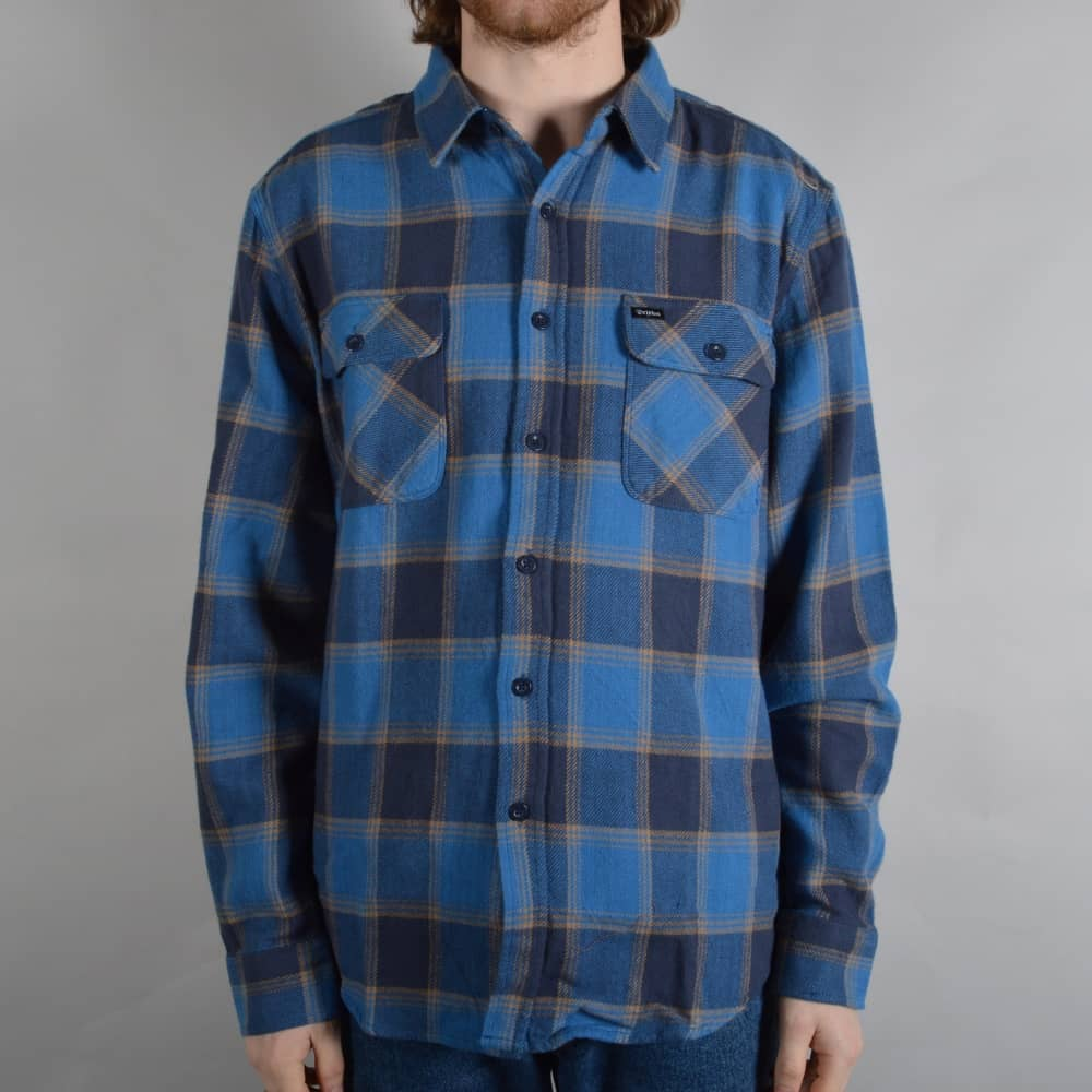 a2e14861cd33 Brixton Bowery Longsleeve Flannel Shirt - Blue Navy - SKATE CLOTHING ...
