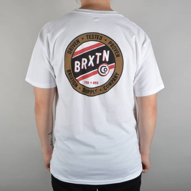 Brixton Cannon T-Shirt - White/Gold