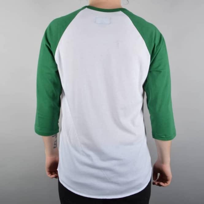 Brixton Fenway 3//4 Sleeve T Shirt White//Green