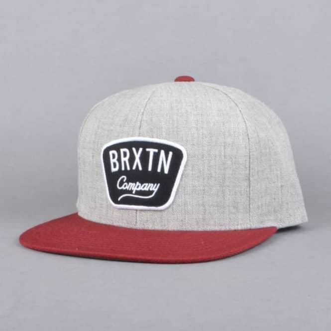 00525e32a Brixton Gaston Snapback Cap - Light Heather Grey/Burgundy