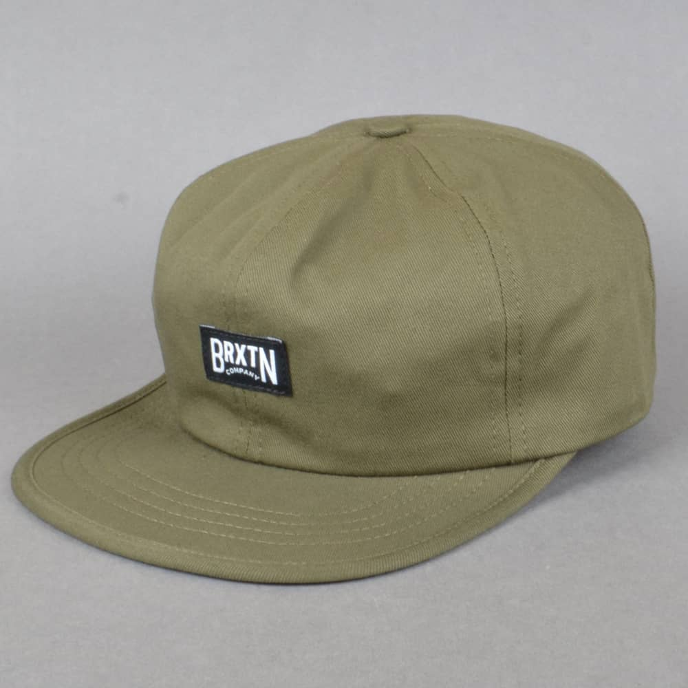 677f712f69b Brixton Langley 6 Panel Strapback Cap - Olive - SKATE CLOTHING from ...