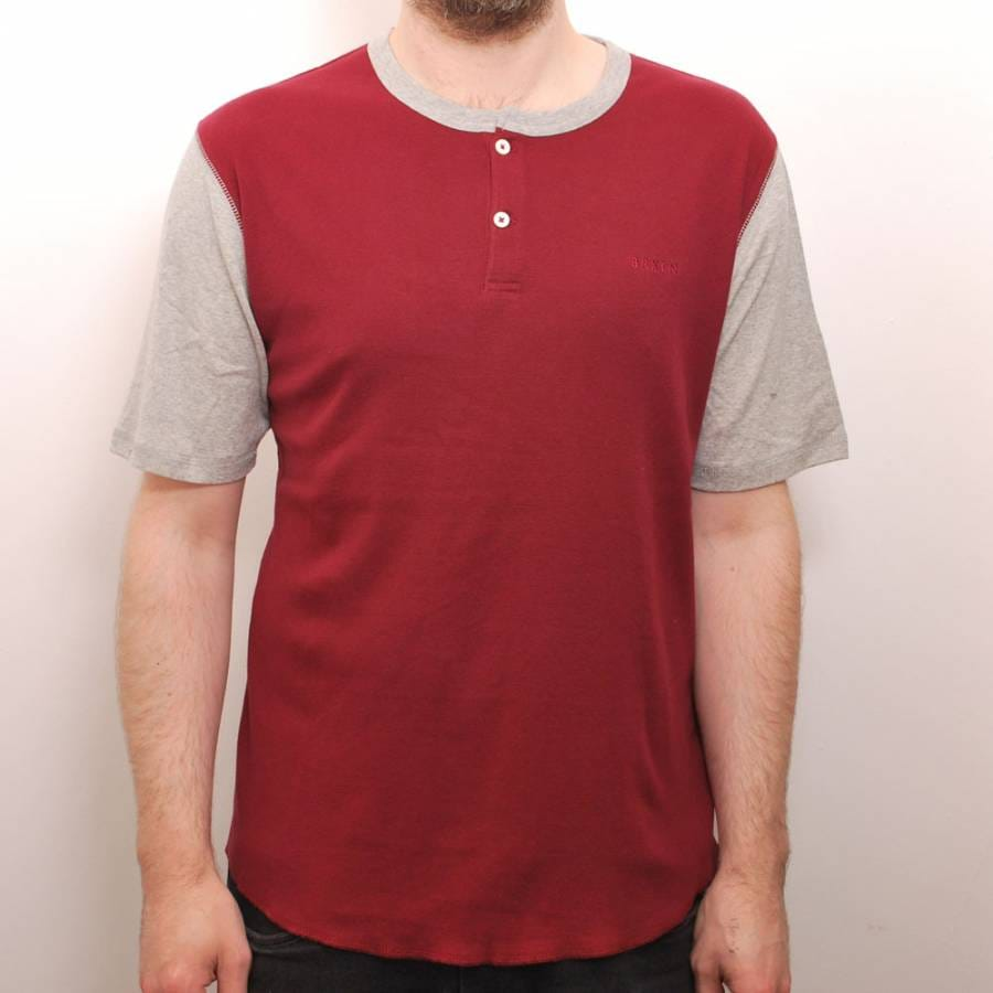 brixton brixton lewis custom t shirt burgundy heather grey. Black Bedroom Furniture Sets. Home Design Ideas