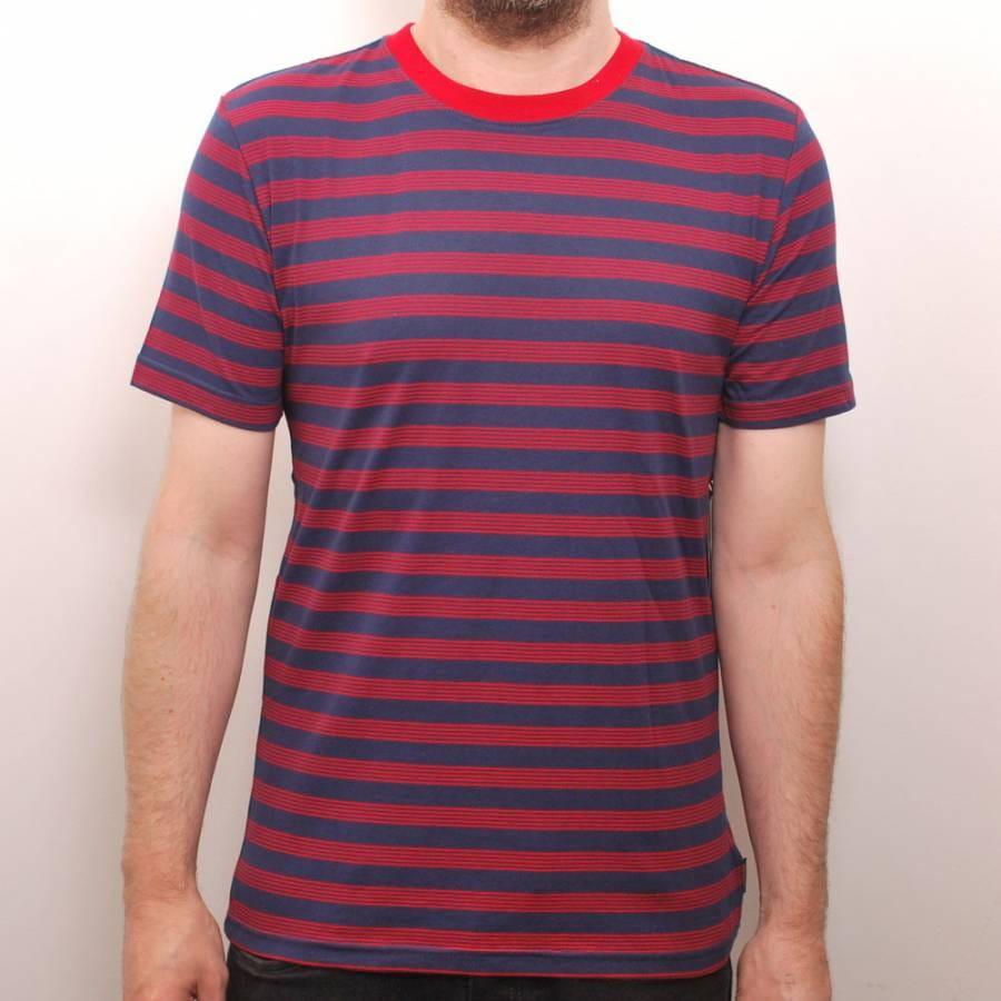 Brixton brixton linus custom t shirt navy red brixton for Uk custom t shirts