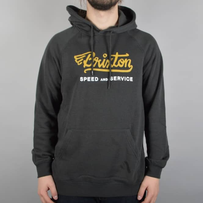 Brixton Mach Pullover Hoodie - Washed Black