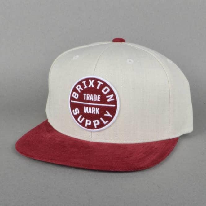 2359602d7fd Brixton Oath 3 Snapback Cap - Cream Burgundy - SKATE CLOTHING from ...
