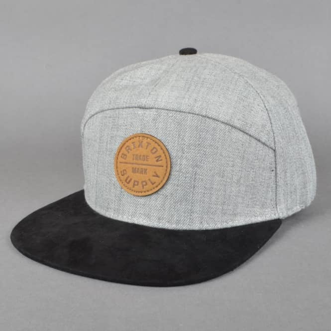Brixton Oath 7 Panel Cap - Light Heather Grey/Black