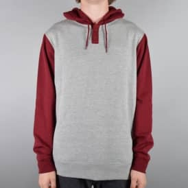 Syd II Pullover Hoodie - Heather Grey/Maroon