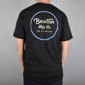 Brixton Wheeler 2 Short Sleeve T-Shirt - Black/Blue