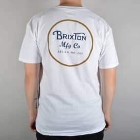 Brixton Wheeler 2 T-Shirt - White/Gold