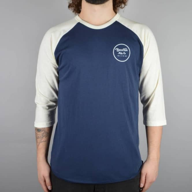 Brixton Wheeler 3/4 Sleeve T-Shirt - Navy/Cream