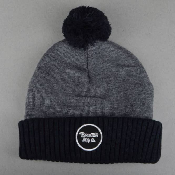 Brixton Wheeler Pom Beanie - Charcoal Heather/Black