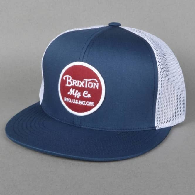 Brixton Wheeler Snapback Mesh Cap - Navy White - SKATE CLOTHING from ... 856c5622c56