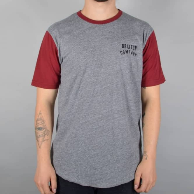 Brixton Woodburn Custom T-Shirt - Heather Grey/Burgundy