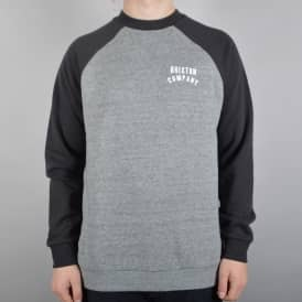 Brixton Woodburn II Crewneck Sweater - Heather Grey/Washed Black