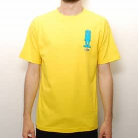 Broadcast Wheels Arrested Skate T-Shirt - Yellow