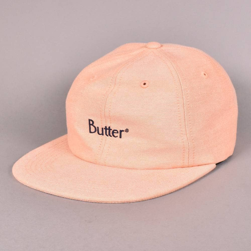 ac403d4174e Butter Goods Classic Logo Oxford 6 Panel Cap - Peach - SKATE ...