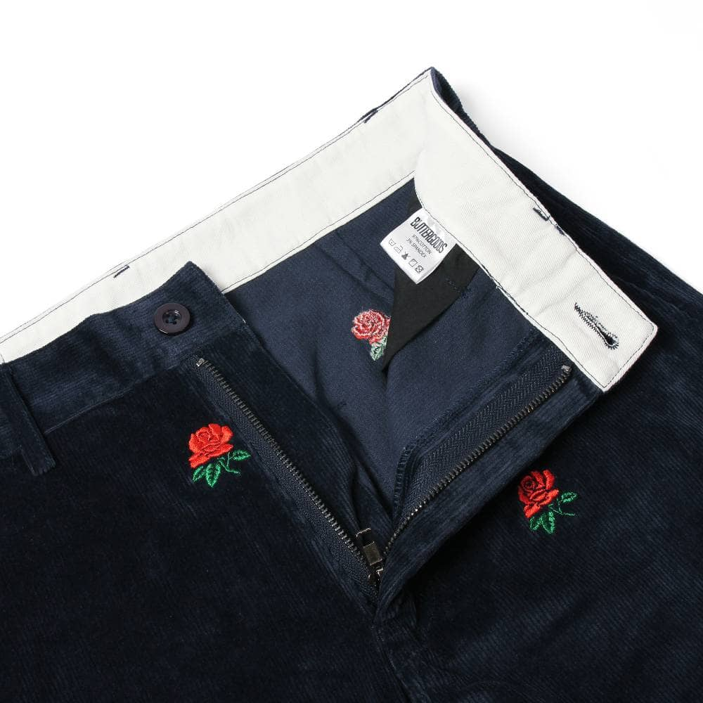 8854cd6c096c Butter Goods Rose Embroidered Corduroy Pants - Navy - SKATE CLOTHING ...