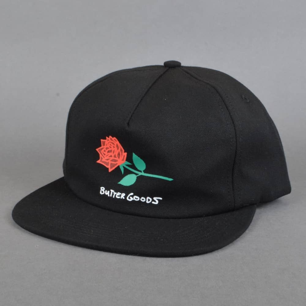 0ca87c79bba Butter Goods Rose Snapback Cap - Black - SKATE CLOTHING from Native ...