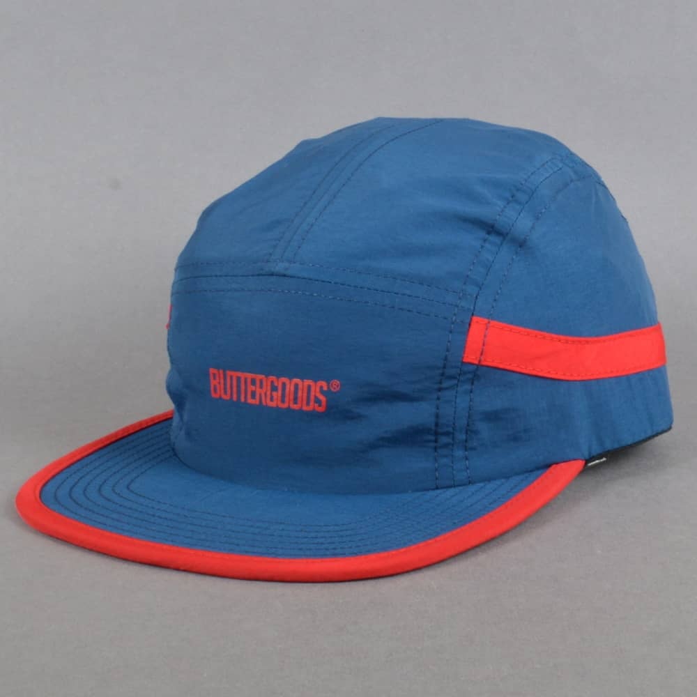 6870fc86740 Butter Goods Track 5 Panel Cap - Navy Red - SKATE CLOTHING from ...