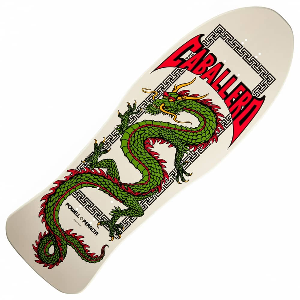 POWELL PERALTA Skateboard Deck CABALLERO CHINESE DRAGON Bone Re-Issue with GRIP