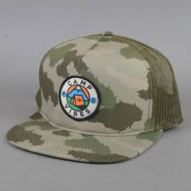 Camp Vibes Trucker Snapback Cap - Green Furry Camo