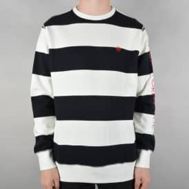 Catalina Stripe Crew Fleece Sweater - Black/White