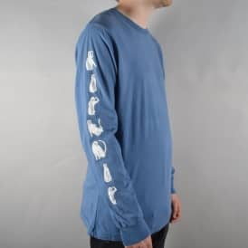 Cats Longsleeve T-Shirt - Washed Blue