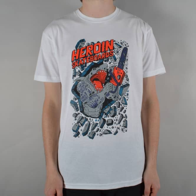 Heroin Skateboards Chainsaw Skate T-Shirt - White