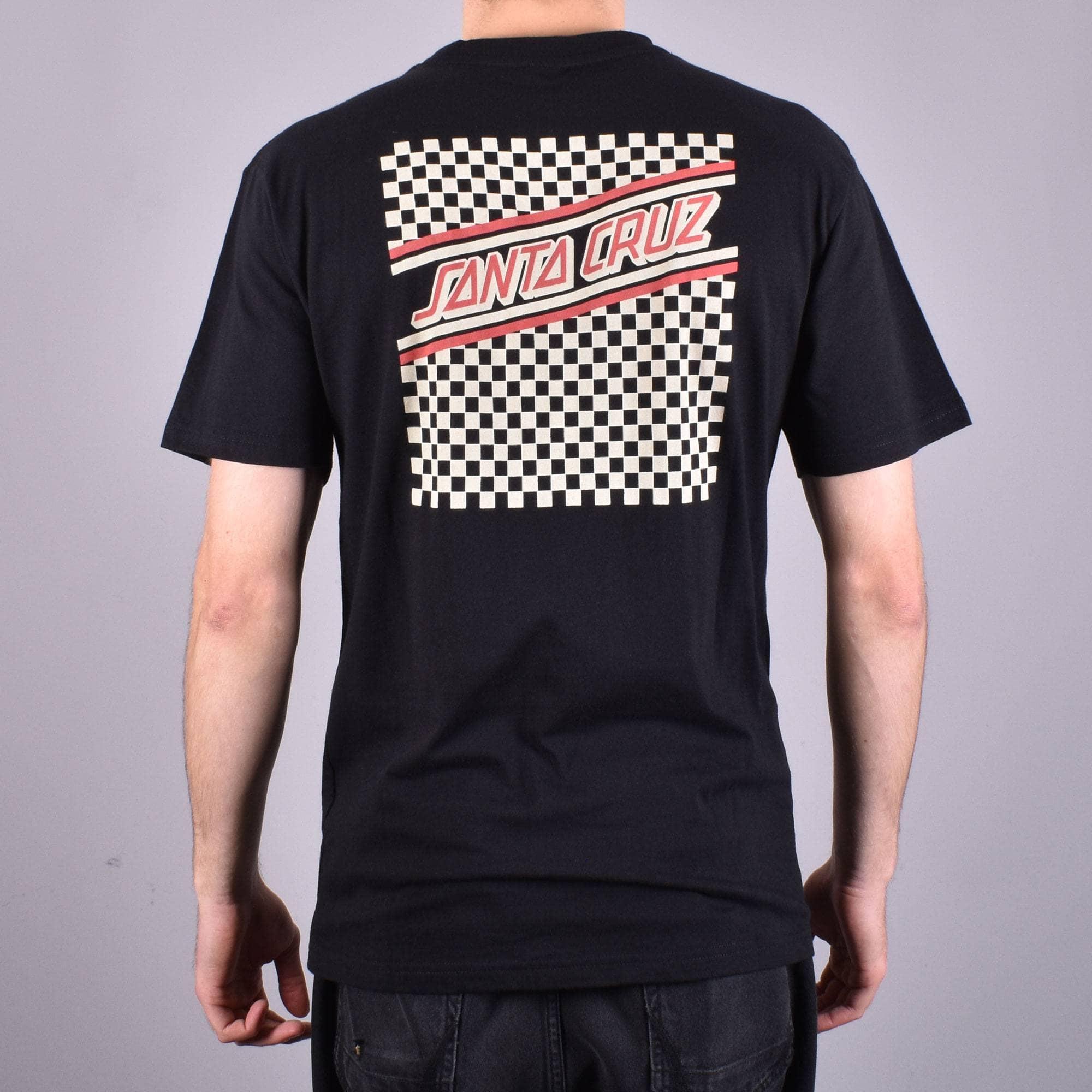 Santa Cruz CHECK STRIP HUE Skateboard T Shirt BLACK MEDIUM