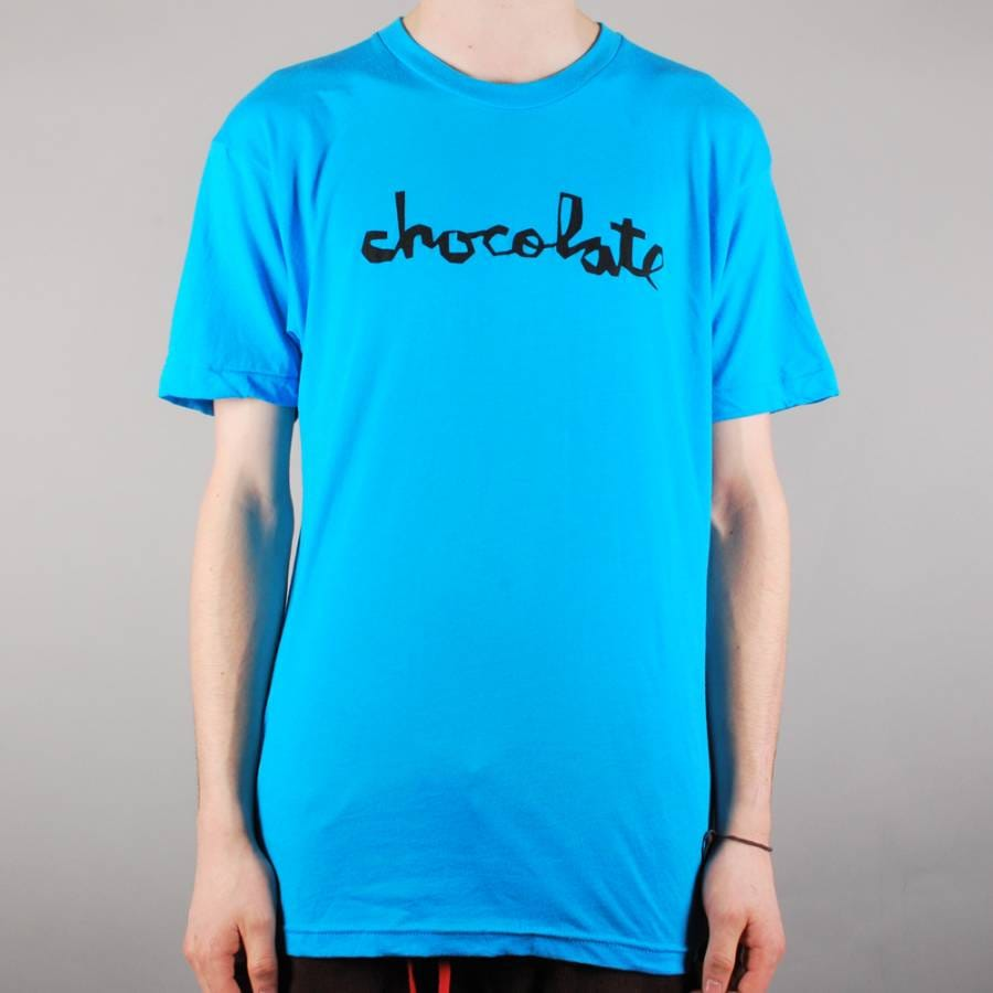 Chocolate skateboards chocolate chunk skate t shirt neon for Neon blue t shirt