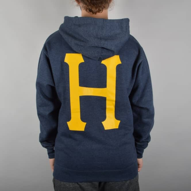 HUF Classic H Pullover Hoodie - Navy Heather/Orange
