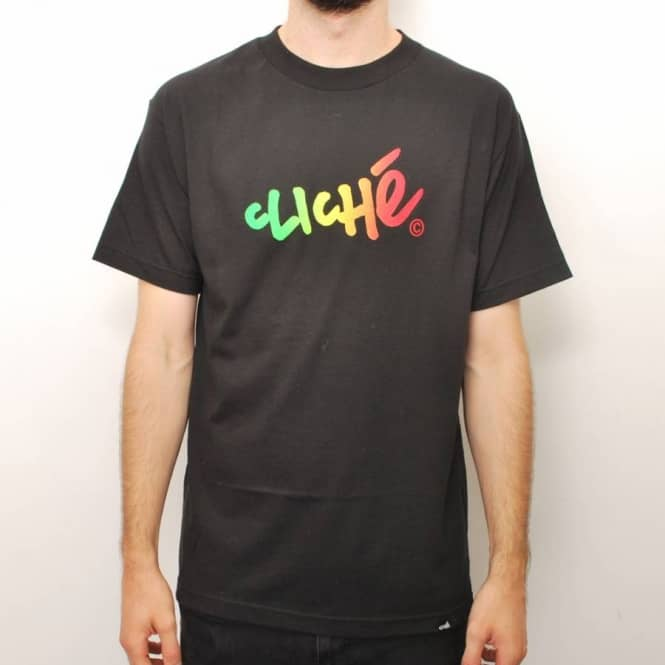 Cliche Skateboards Cliche Handwritten Gradient Skate T-Shirt - Black