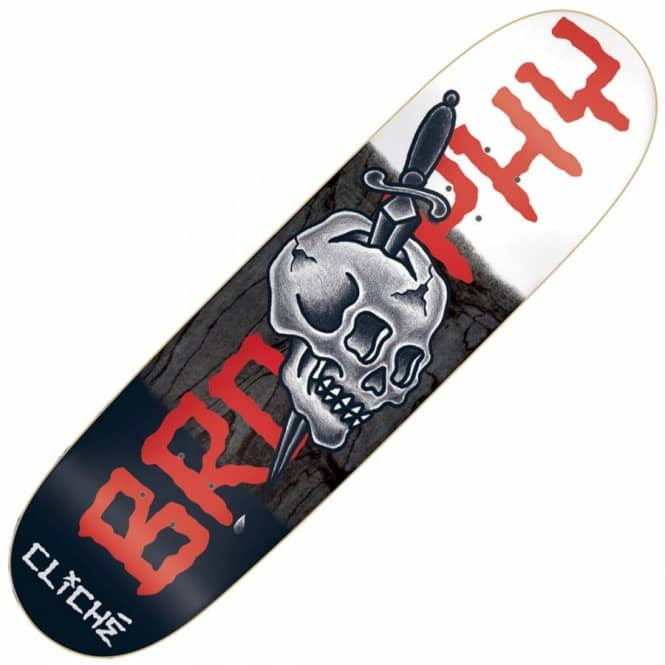 Cliche Skateboards Brophy By Dressen Black/White Skateboard Deck 8.625