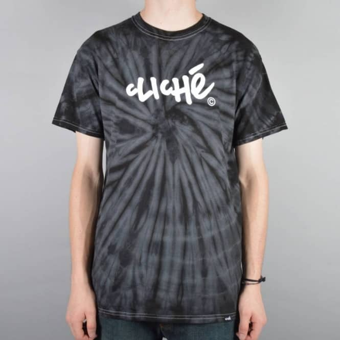 Cliche Skateboards Handwritten Tie Dye Skate T-Shirt - Black Spider