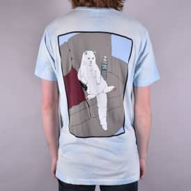 Couch Potato Skate T-Shirt - Blue/White Mineral Wash