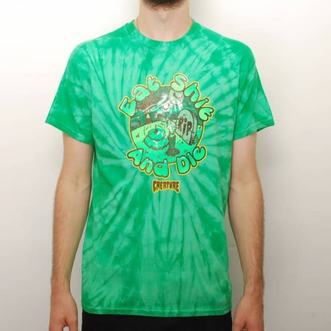 Creature Skateboards Creature Eat Shit Tie Dye Skate T-Shirt - Kelly Green