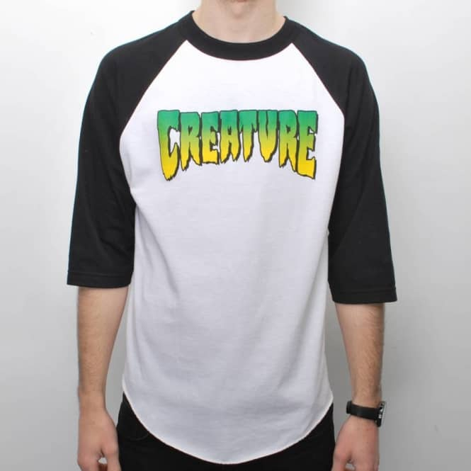 Creature Skateboards Creature Logo 3/4 Sleeve Raglan Skate T-Shirt - White/Black