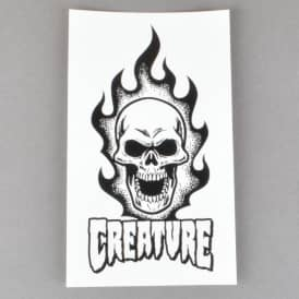 Creature Skateboards Bonehead Skateboard Sticker - White