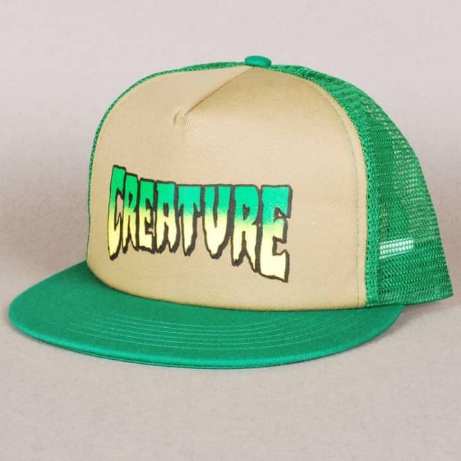Creature Skateboards Creature Logo Trucker Cap - Khaki/Forest