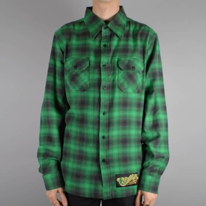 Creature Skateboards Kenneth Button Up Shirt - Green/Grey/Black Plaid
