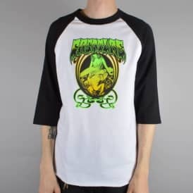 Creature Skateboards Psych Raglan 3/4 Sleeve Skate T-Shirt - White/Black
