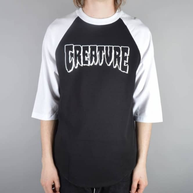Creature Skateboards Rev Logo 3/4 Sleeve Raglan T-Shirt - Black/White