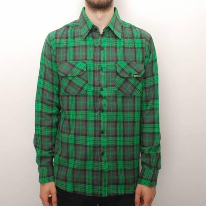 Creature skateboards creature the hannibal button up l s for Green and black plaid flannel shirt