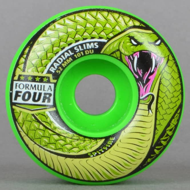 Spitfire Wheels Death Adder Radial Slims 101D Green Formula Four Skateboard Wheels 52mm