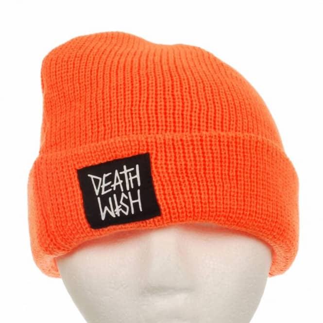 008c35bd34c Deathwish Skateboards Deathwish Patch Beanie Orange - Beanies from Native  Skate Store UK