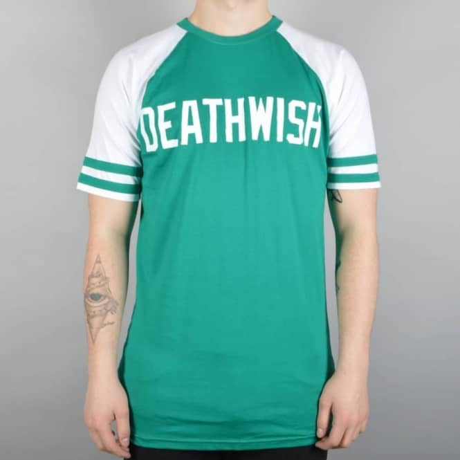 Deathwish Skateboards Boardwalk Short Sleeve Raglan T-Shirt - Teal/White