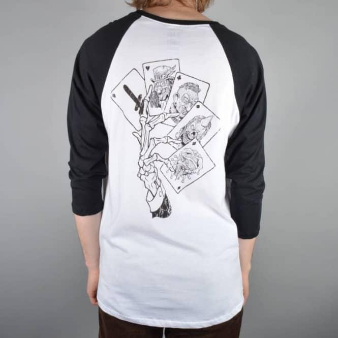 a8854f35e3 Deathwish Skateboards Death Hands 3/4 Sleeve Raglan T-Shirt - White ...
