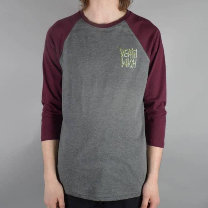 46d916c3 Deathwish Skateboards Death Stack Baseball 3/4 Sleeve Raglan T-Shirt ...