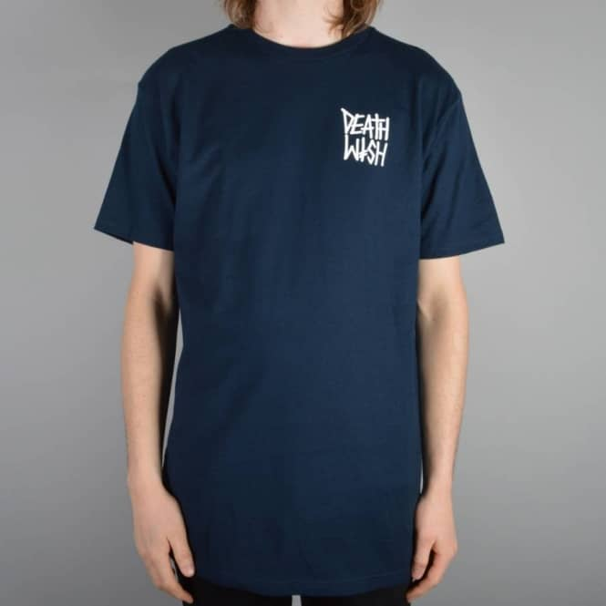 Deathwish Skateboards Death Stack Pocket Hit Skate T-Shirt - Navy
